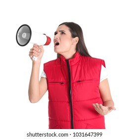 Young woman in red vest with megaphone on white background