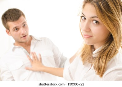 young woman rejecting man who is trying to flirt with her