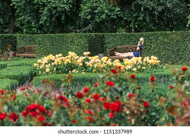 Young woman relaxing with her mobile phone on a bench during a summer day in a Danish park. Concept of hygge, relaxation.