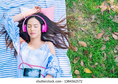 Young woman relaxing with listening music outdoor in garden. Good health concept.