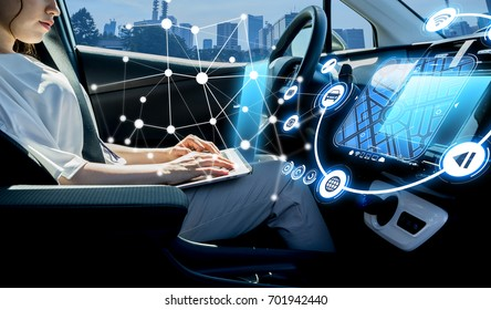 young woman riding autonomous car. self driving vehicle.
