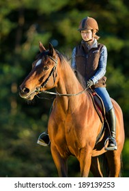 Young woman riding a horse, horse riding back.