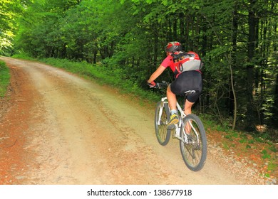 Young woman riding a mountain bike on a gravel road through the woods