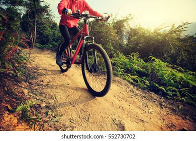 young woman riding mountain bike on forest trail