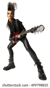 Young woman rock musician isolated