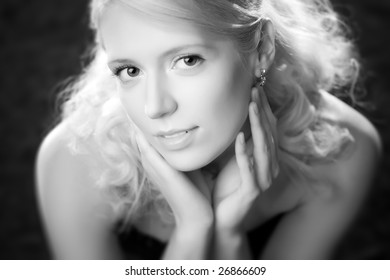 Young woman romantic portrait. Black and white.