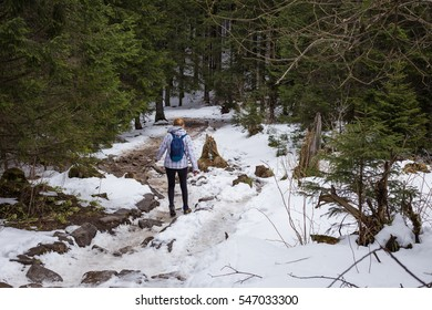 Young woman with rucksack is hiking in high mountains.