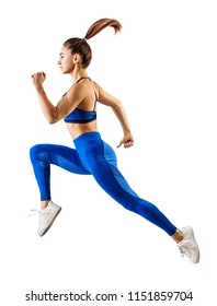 Young woman runner in blue sportwear jump in the air. Dynamic movement. Side view Isolated on white.
