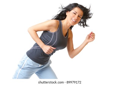 Young woman running, isolated on white background