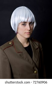 young woman with a russian army coat and a white wig