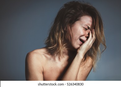 Young woman sad and crying