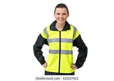 Young woman with a safety jacket
