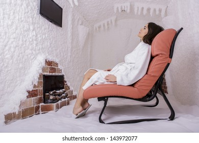Young woman in the salt room