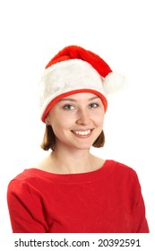The young woman in a Santa  claus cap