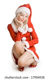young woman in a santa costume