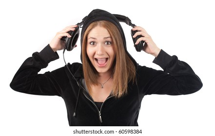 young woman screaming with music,isolated on white