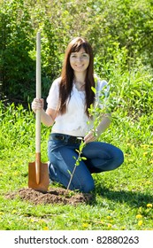 Young woman sets tree outdoor in spring