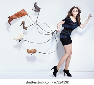 Young woman with shoes
