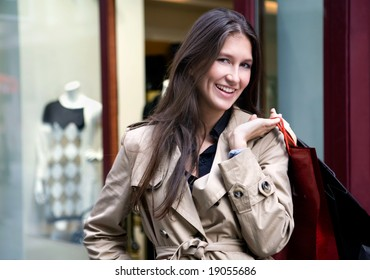 young woman in  the shopping center