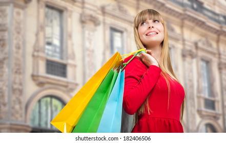 Young woman shopping in Milan