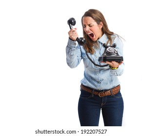 young woman shouting and holding a telephone