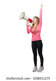 Young Woman Shouting In Megaphone Over White Background