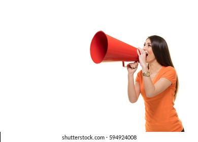 Young woman shouts into a megaphone