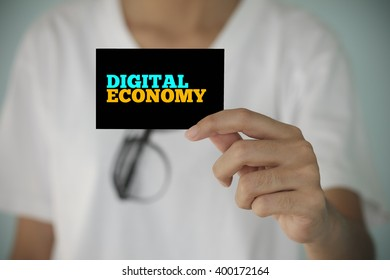 young woman show  DIGITAL ECONOMY  , business idea