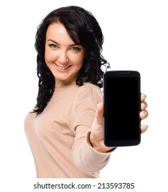 Young woman show display of mobile cell phone with black screen isolated on white