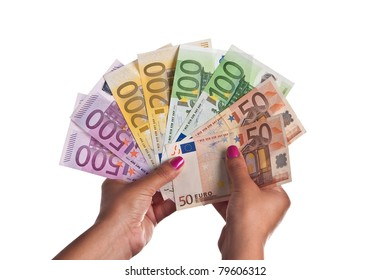 Young Woman show a range of Euro Banknotes