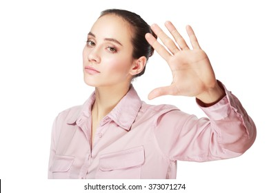 young woman show stop hand over white background