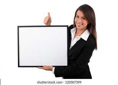 Young woman showing board