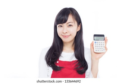 Young woman showing calculator isolated on white background