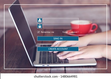 Young woman sign up or log in username password in coffee shop,GDPR.cyber security and privacy concept