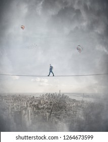 Young woman silhouette balancing on slackline rope high above clouds between two imaginary parallel worlds. Walking confident on tightrope. Conquering metaphor, overcome challenge stability symbol.