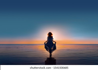 young woman silhouette walking on water at sunset