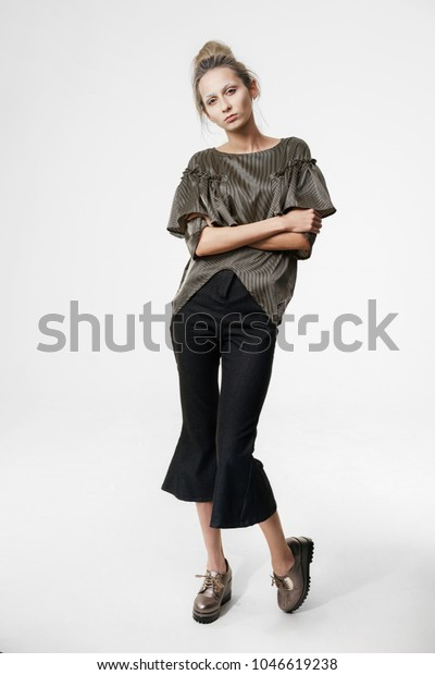 Young Woman Simple Hairstyle Posing Trendy Stock Photo (Edit