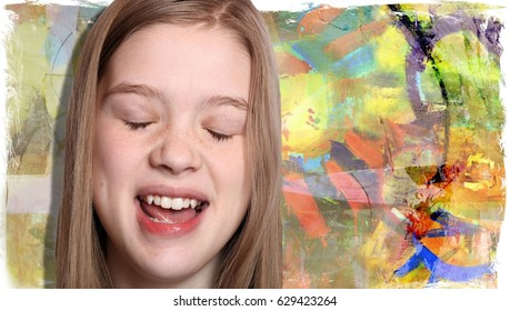Young Woman Singing with Her Eyes Closed in Front of an Abstract Sun Painting