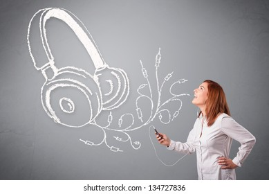 young woman singing and listening to music with abstract headphone getting out of her mouth