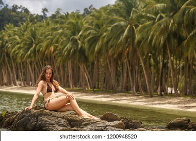 Young woman sit on the rock. Happy island lifestyle. Palm tree and crystal sea of tropical beach. Vacation at Paradise. Sea beach relax, travel to Palawan island, Philippine