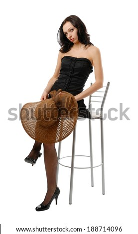 68b62079af648 Young Woman Sits On High Chair Stock Photo (Edit Now) 188714096 ...