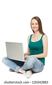 Young woman sitting with laptop