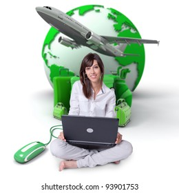 Young woman sitting on the floor with a laptop with the Earth a pile of luggage and an airplane at the background