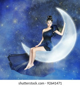 Young woman sitting on the shining moon with blue sky with stars on the background