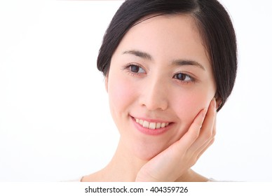 Young woman skin care