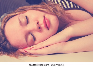 young woman sleeping. Instagram style filtred image