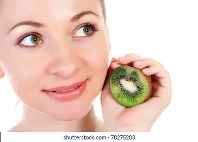 Young woman with slices of kiwi, studio closeup portrait isolated on white