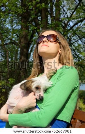 Pleasant Young Woman Small Dog On Bench Stock Photo Edit Now Frankydiablos Diy Chair Ideas Frankydiabloscom