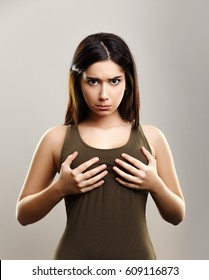 Young woman with small size boobs