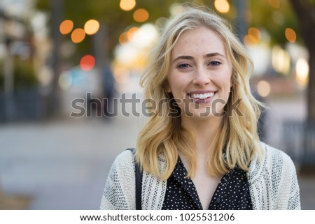 Young woman smile happy face portrait